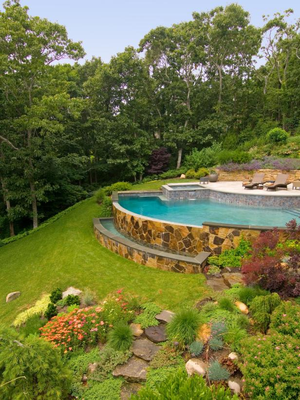Infinity Pool With Flagstone Wall
