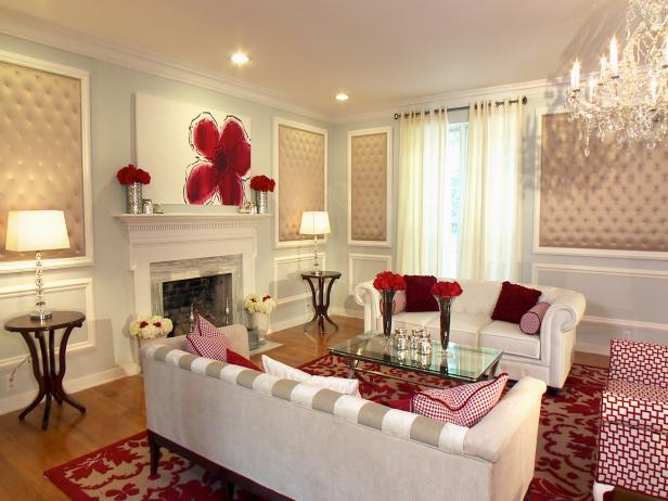 Traditional Room With Red and White Palette and Modern Accents