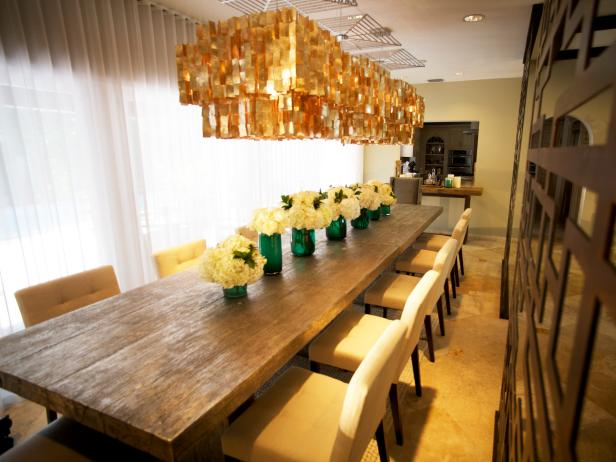 Rustic Dining Table With Modern Chandelier