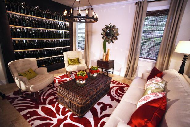 Living Room With Built-In Wine Storage
