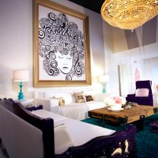 shaggy rugs for living room. Eclectic Living Room with Purple Furniture and Teal Shag Rug Photos  HGTV
