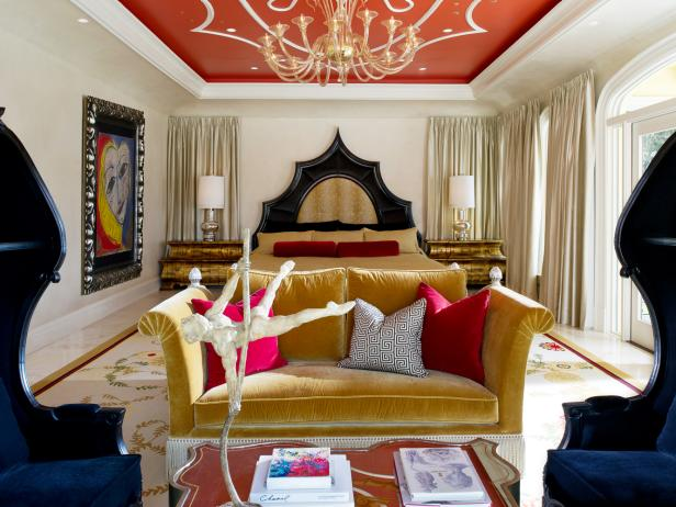 Eclectic Bedroom With Red Ceiling
