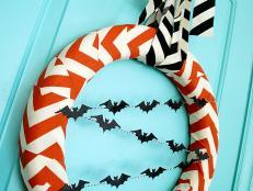 halloween chevron wreath - Hgtv Halloween Decorations