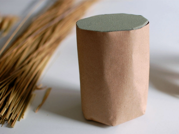 Brown Kraft Paper Wrapped Around Floral Foam
