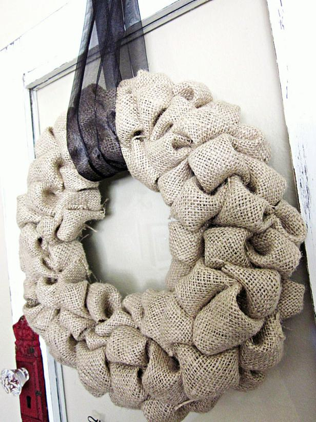 Burlap Bubble Wreath With Simple Ribbon Hanger