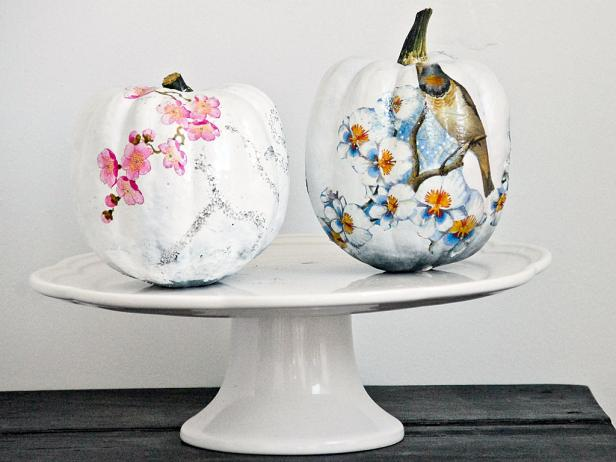 Decoupaged White Pumpkins With Pink & Blue Flowers