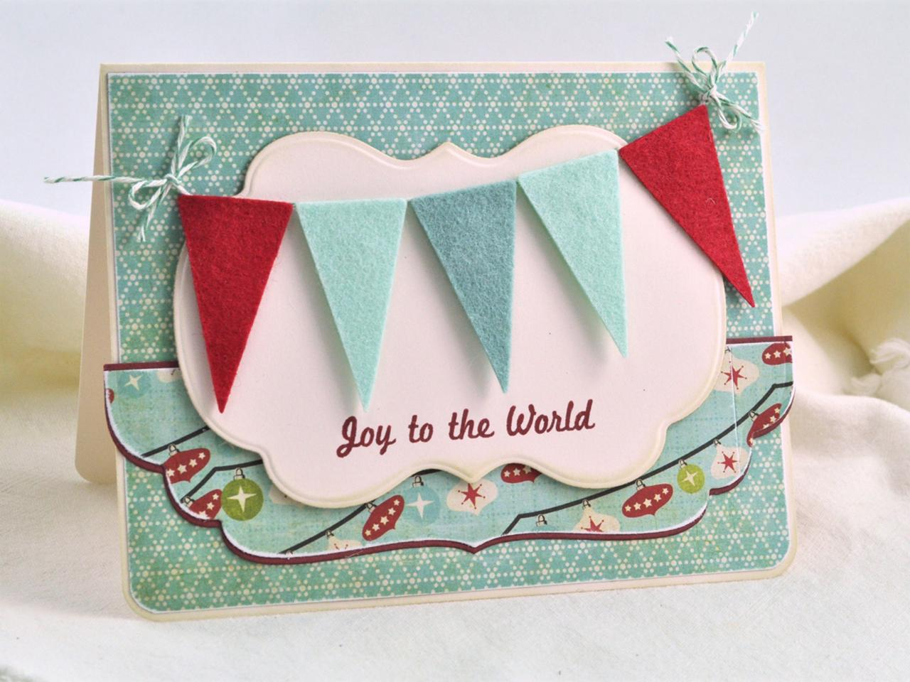 Handmade holiday card with colorful felt pennants hgtv - Interaktive weihnachtskarte ...