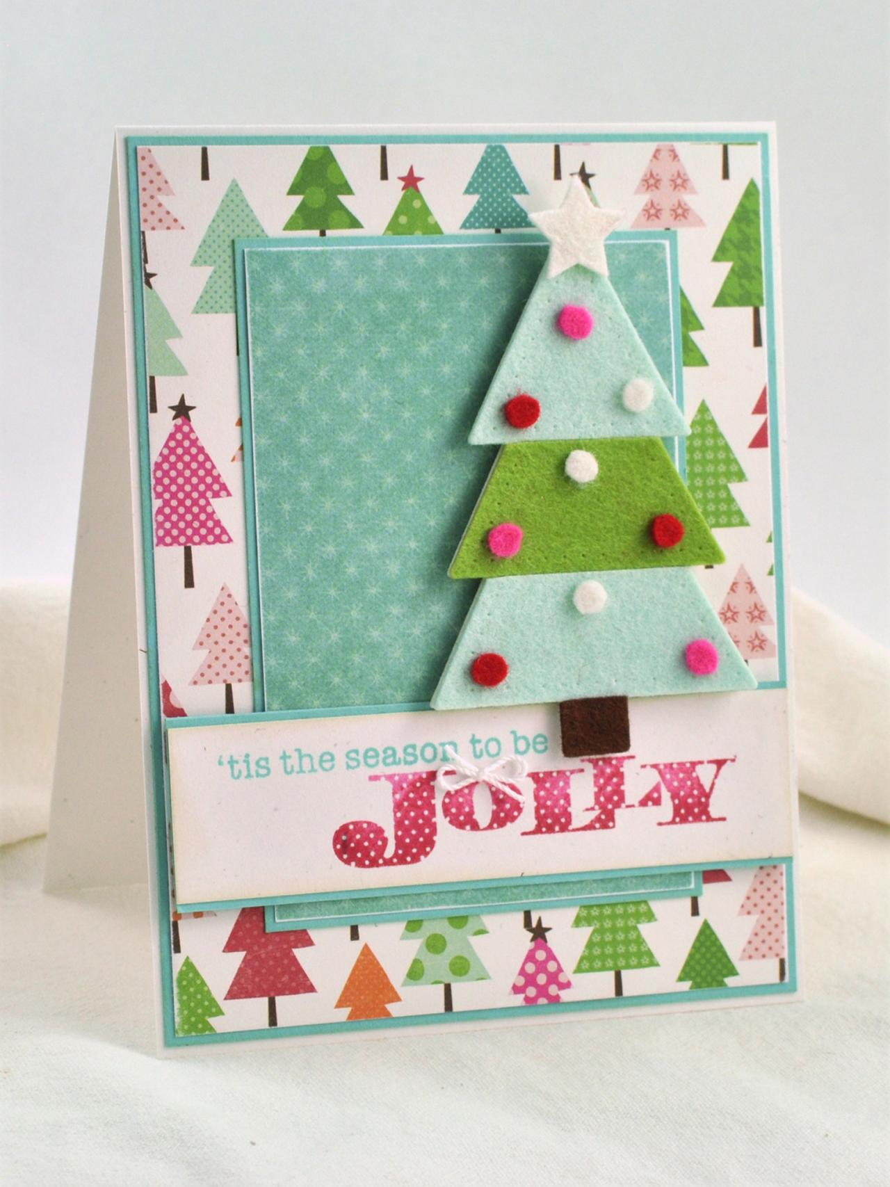 3 d felt christmas tree card hgtv for Kitchen colors with white cabinets with rouleau papier cadeau