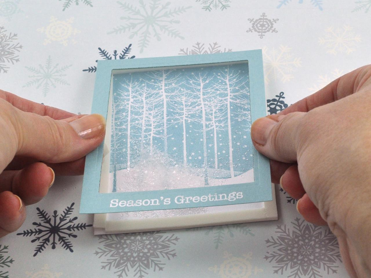 falling snow holiday shaker card | hgtv