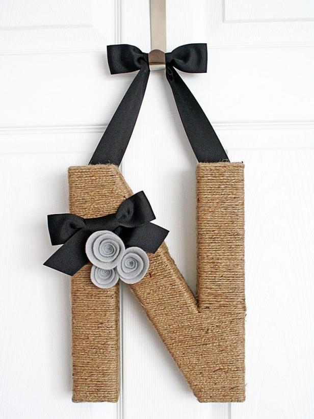 Jute-Covered Monogram Wreath