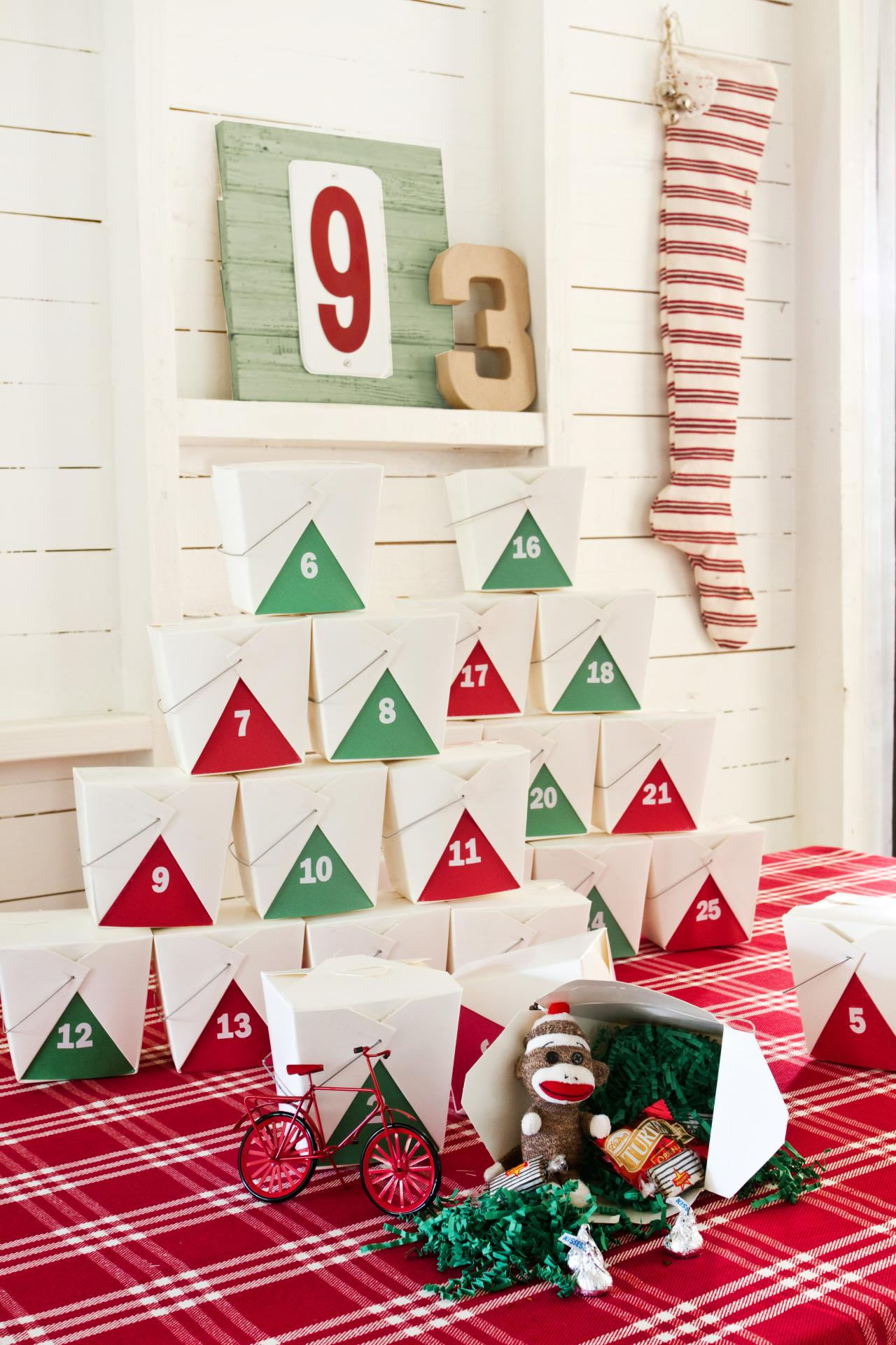 How to make a lighted christmas box decoration - Make Your Own Takeout Box Advent Calendar