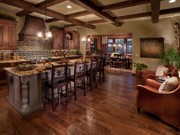 Hardwood floors in large kitchen