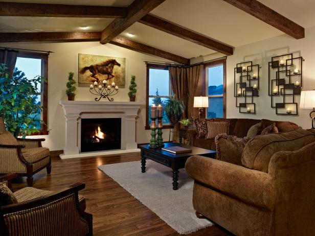 Traditional Living Room With Fireplace and Exposed Ceiling Beams