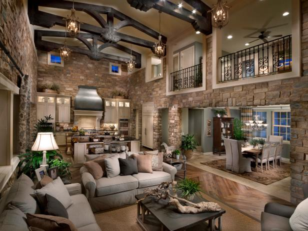Rustic Living Room and Kitchen With Beamed Ceiling