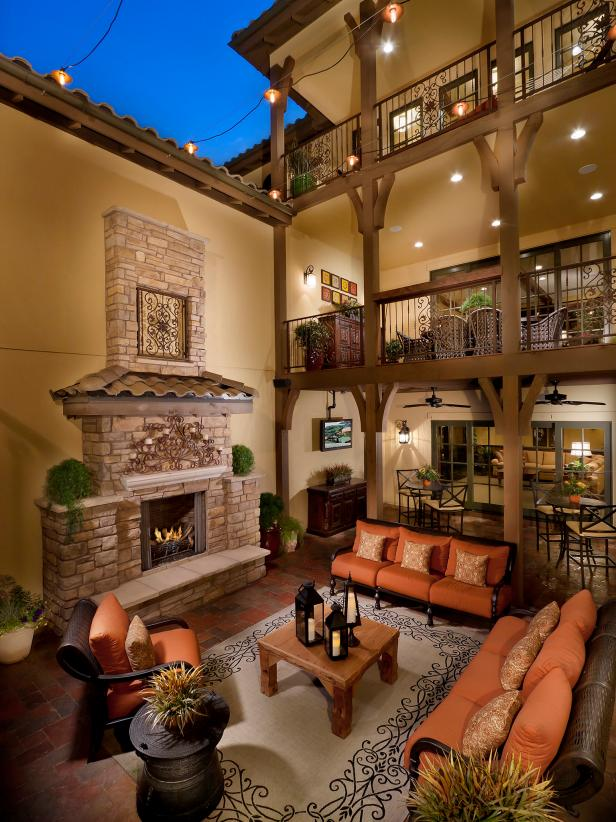 Outdoor Space With Stone Fireplace