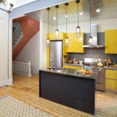 Modern Yellow Loft Kitchen