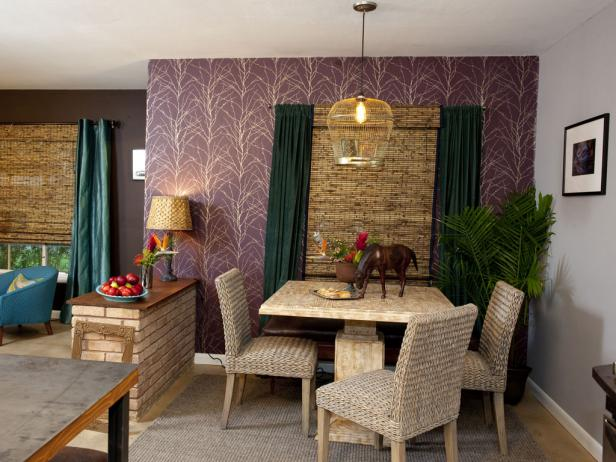 Dramatic Dining Area with Purple Wallpaper