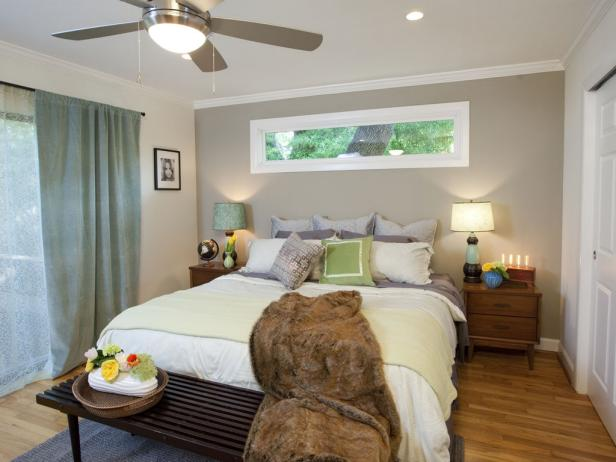 Neutral Transitional Bedroom With Green Accents