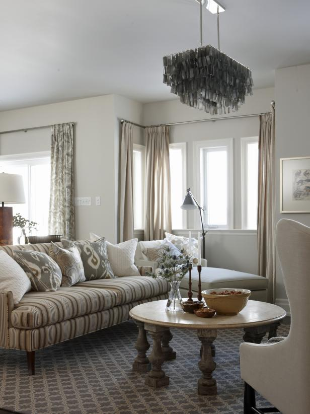 Neutral Transitional Living Room With Striped Sofa