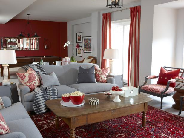 Red and Gray Recreation Room