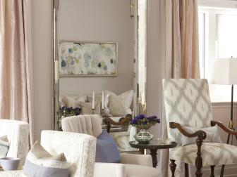 Pale Lilac Living Room With Chrome Mirror Detail