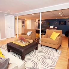 Multicolored Basement Family Room