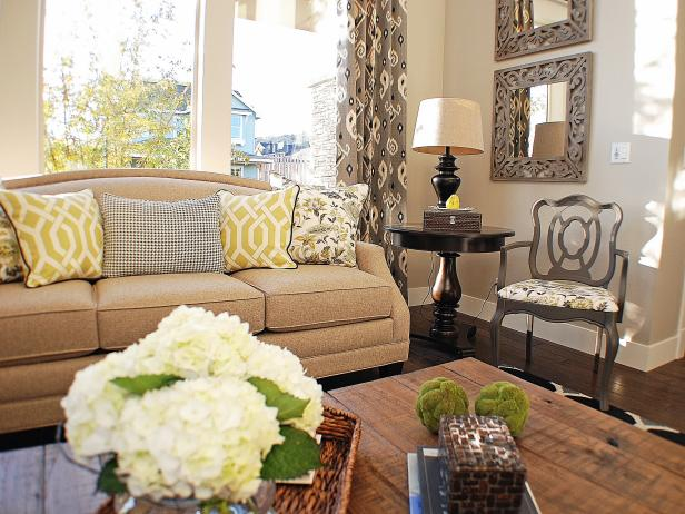Transitional Living Room With Chartreuse Accents