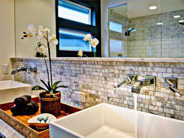 Contemporary Bathroom Vanity Area With Marble Backsplash