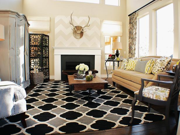 Transitional Living Space With Black, Gray and Yellow Accents