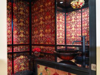 Asian Bathroom With Kimono Fabric Wallpapper