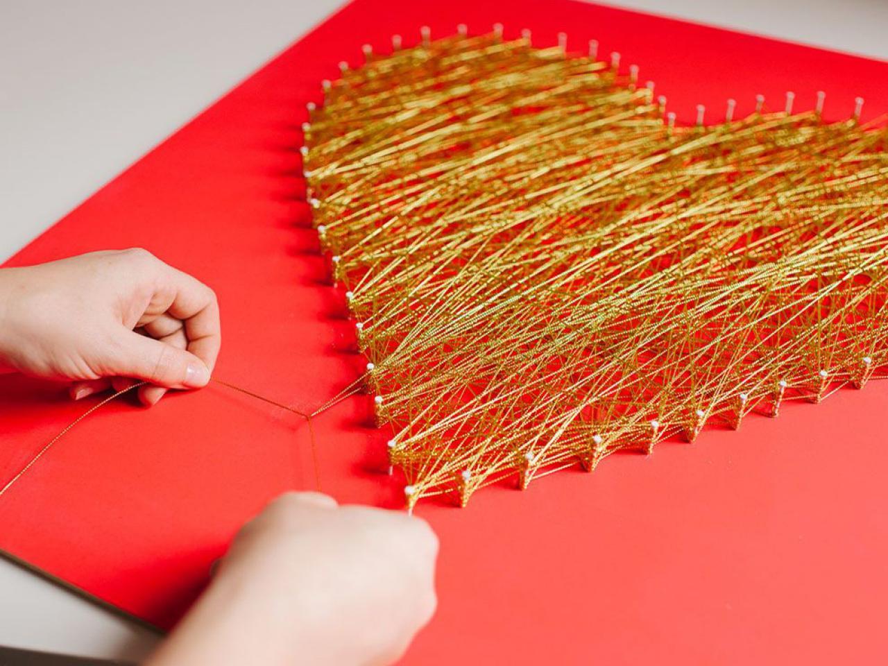 yarn art color garden : Modern String Art Heart