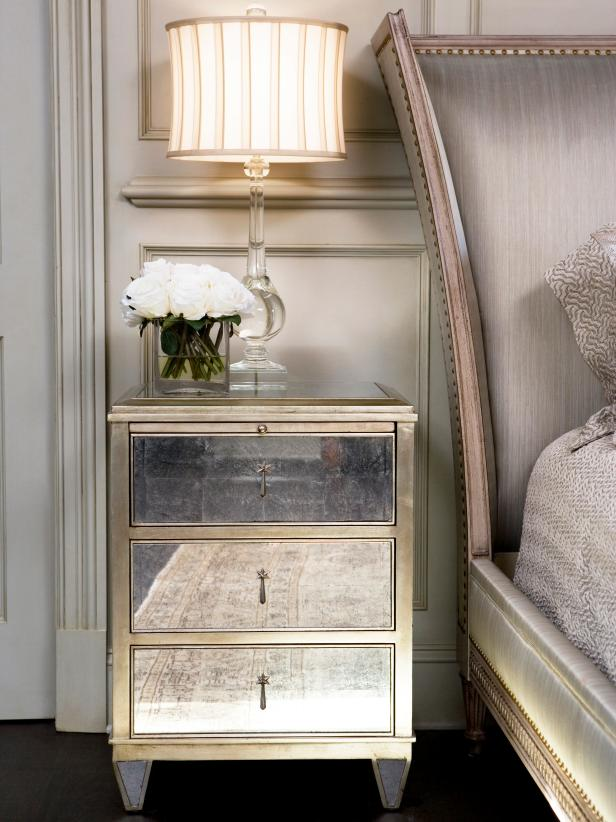 Gray Bedroom Mirrored Nightstand With Upholstered Headboard