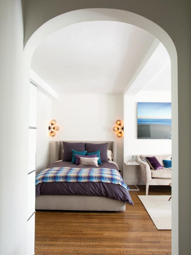 White Bedroom With Purple Bedding