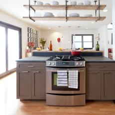 Contemporary Kitchen With Ceiling-Hung Shelving