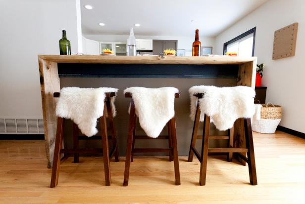 Contemporary Kitchen Breakfast Bar With Sheepskin Stools