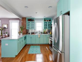 Traditional Kitchen with Light Blue Cabinets