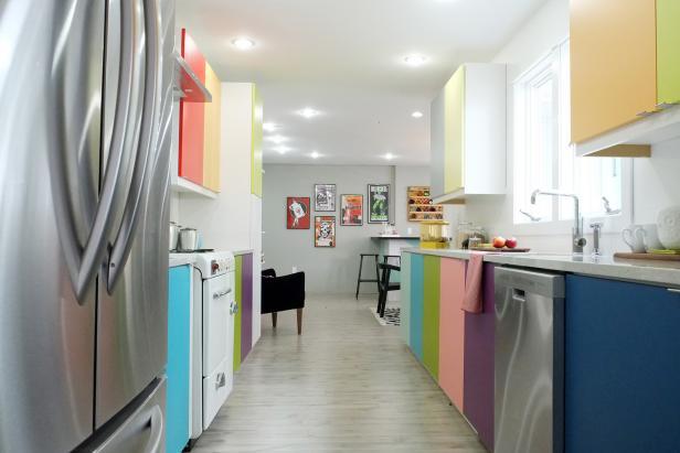 Modern Kitchen With Retro-Inspired Rainbow Cabinets
