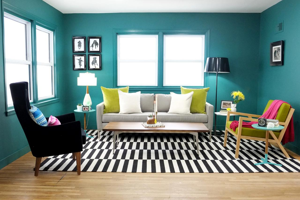 Black and white and teal bedroom - Paint An Entire Room Teal Living Room With Black And White Rug