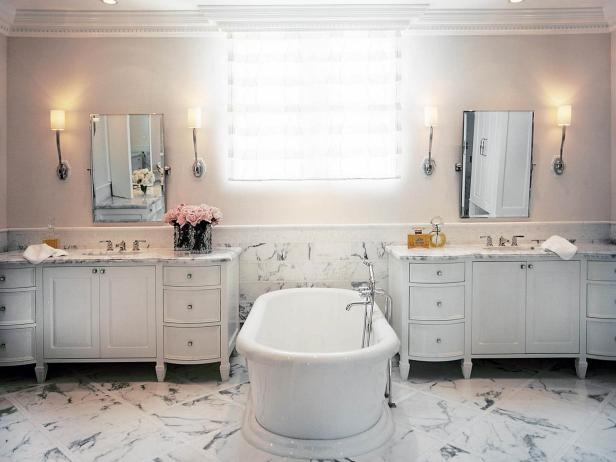 Spacious White Bathroom With Marble Floor