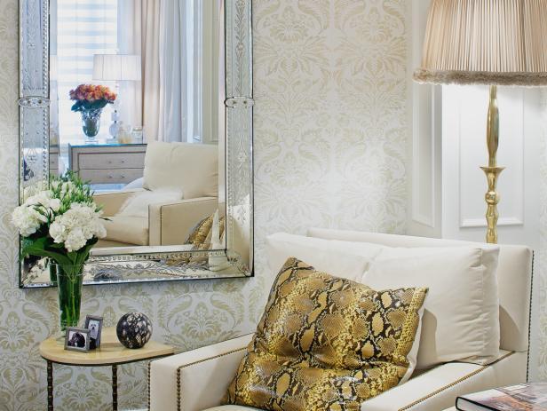 White Art Deco Master Bedroom Sitting Area With Venetian Mirror