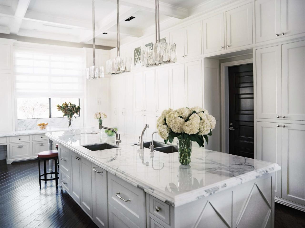 White And Black Traditional Kitchen refinishing kitchen cabinet ideas: pictures & tips from hgtv | hgtv
