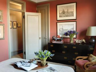 Red Traditional Bedroom With Campaign Dresser