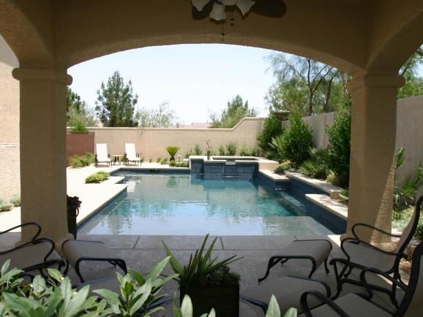 Mediterranean Patio with View of Pool