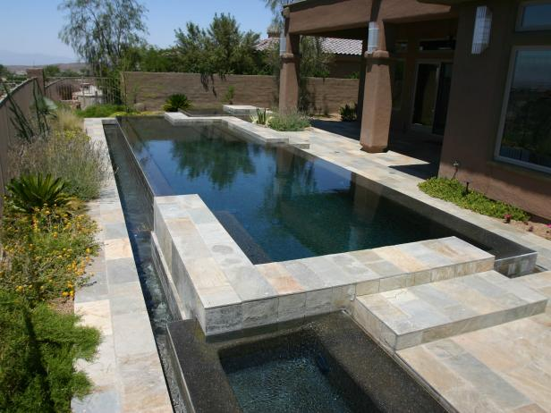 Reflection Pond of Modern Pool with Slate Tile Deck