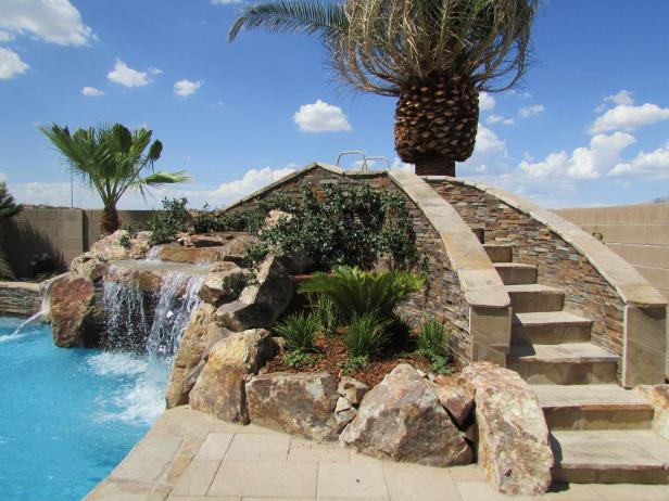 Tropical Pool With Palm, Waterfall and Stone Stairway