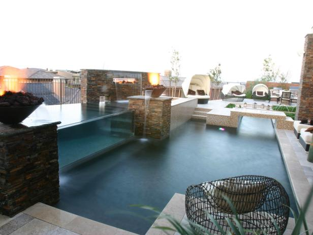 Multi-Level Pool with Acrylic Window and Fire Feature