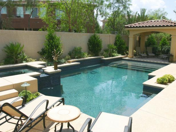 Outdoor Living Space With Pool and Raised Spa