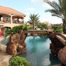 Natural Stone Walkway Atop Tropical Pool