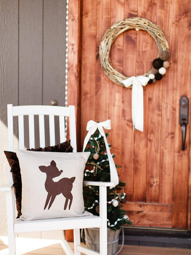 Holiday Porch Decor With Reindeer Silhouette Pillow