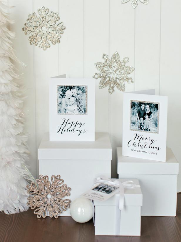 White and Glitter Christmas Card Display on Boxes